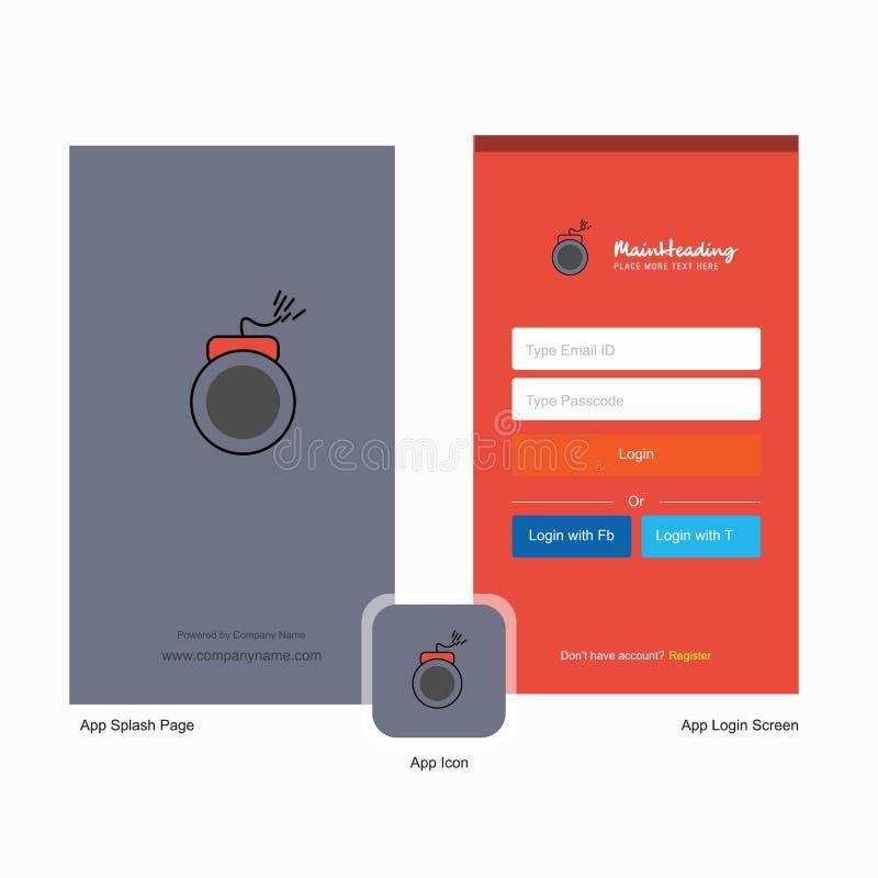 Дизайн экрана выплеска бомбы компании и страницы имени пользователя с шаблоном логотипа r иллюстрация вектора