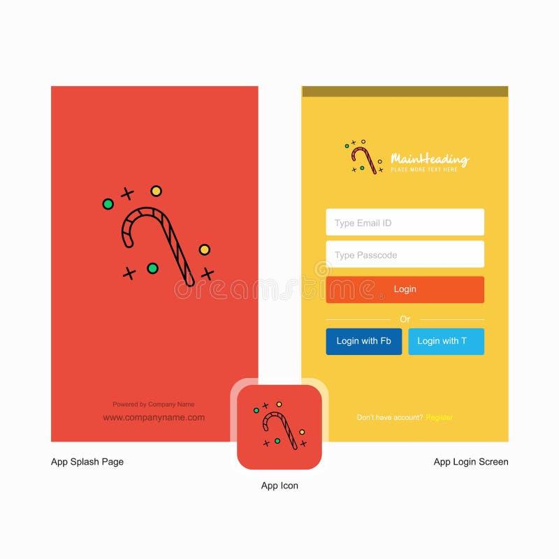 Дизайн экрана выплеска конфеты рождества компании и страницы имени пользователя с шаблоном логотипа r иллюстрация штока