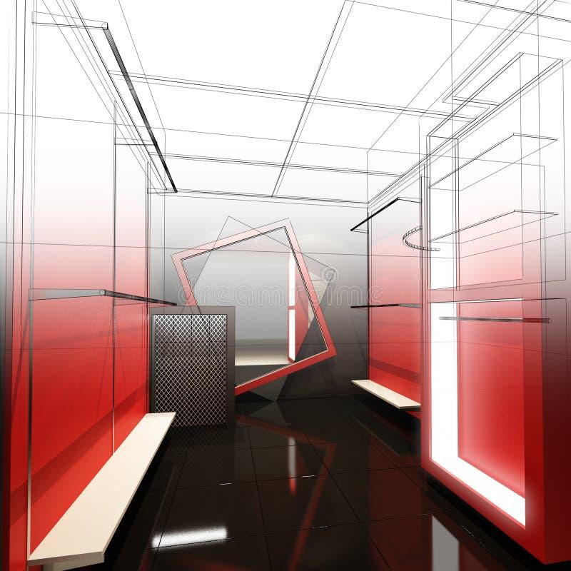 Download Дизайн эскиза внутреннего магазина Иллюстрация штока - иллюстрации насчитывающей проект, чертеж: 81813720
