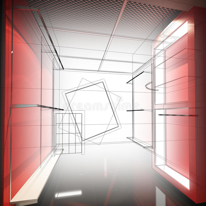 Download Дизайн эскиза внутреннего магазина Стоковое Изображение - изображение насчитывающей самомоднейше, стены: 81813775