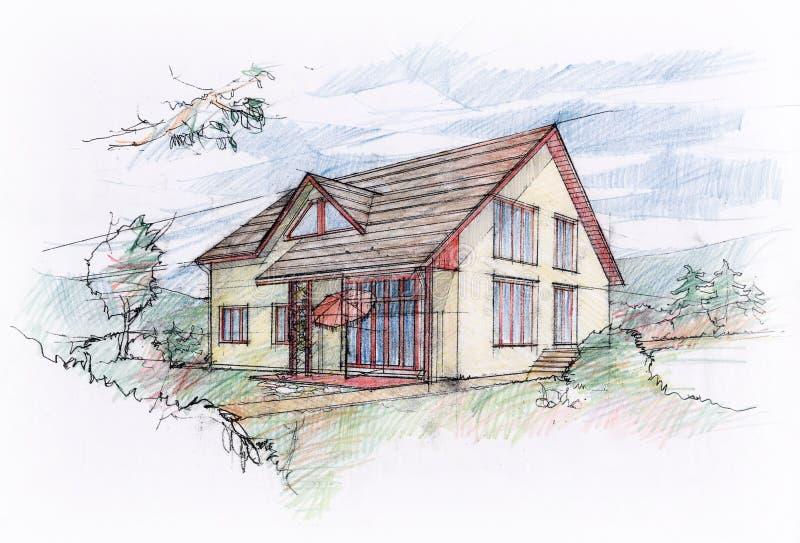 Дизайн эскиза дома иллюстрация вектора