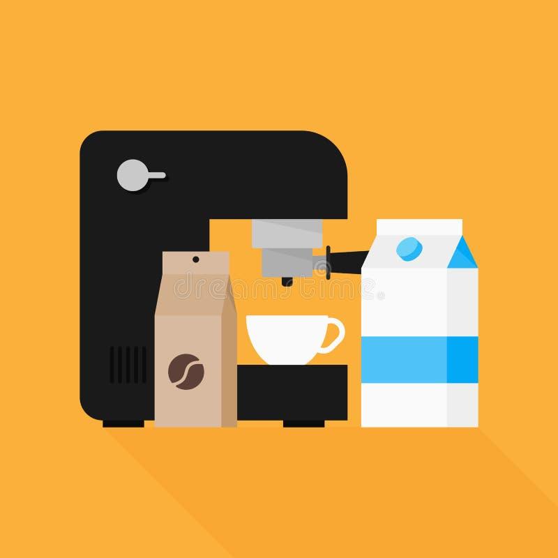 Дизайн элемента кофеварки плоский иллюстрация штока
