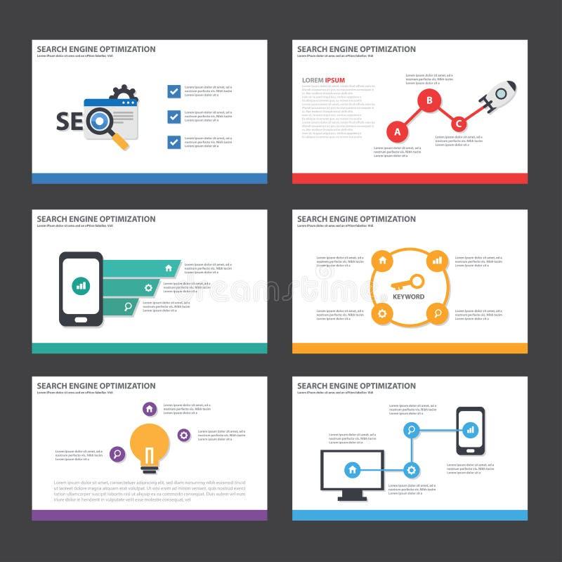 Дизайн элементов Infographic шаблона представления SEO плоский установил для маркетинга листовки рогульки брошюры бесплатная иллюстрация