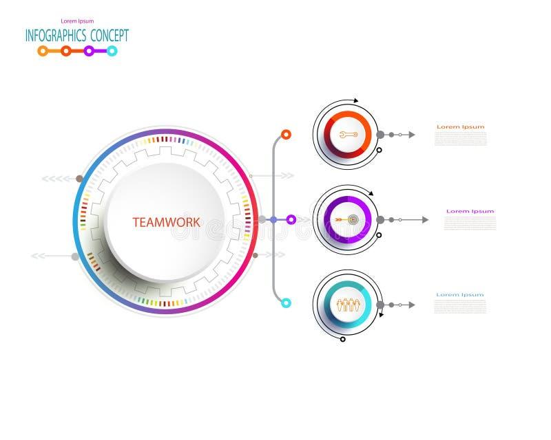 Дизайн ярлыка Infographic вектора с значками и 3 вариантами иллюстрация штока