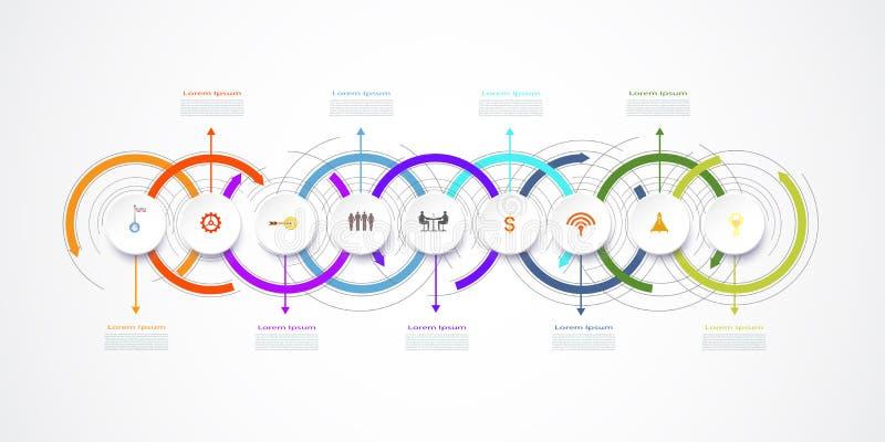 Дизайн ярлыка Infographic вектора с значками и 9 вариантами бесплатная иллюстрация
