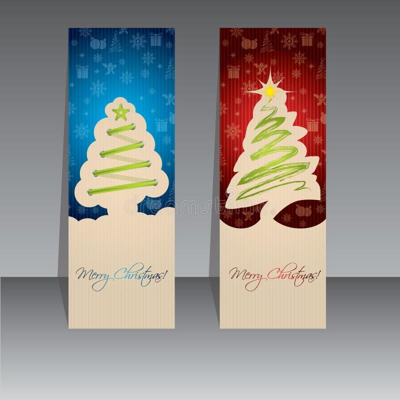 Дизайн ярлыка рождества с зелеными деревьями иллюстрация штока