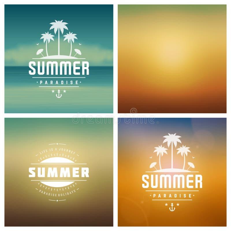 Дизайн ярлыков или значков оформления летних отпусков ретро иллюстрация вектора