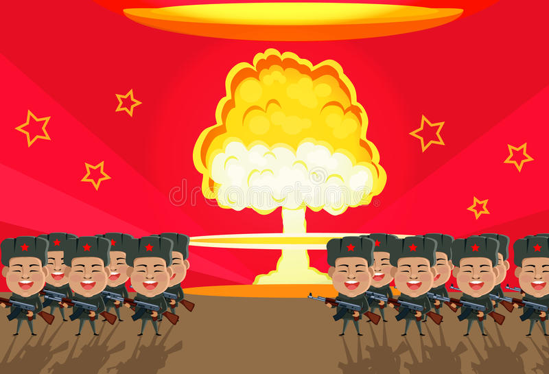 Дизайн ядерного взрыва бомбы плоский иллюстрация штока