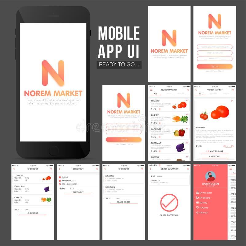 Дизайн App UI онлайн покупок передвижной иллюстрация штока