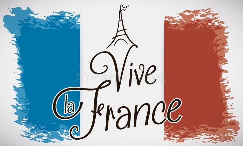 Дизайн Brushstroke флага Франции, Эйфелева башни и текста приветствию, иллюстрации вектора иллюстрация вектора