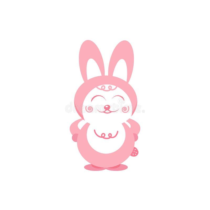 Дизайн falt пастелей пинка характера мультфильма улыбок кролика милый бесплатная иллюстрация
