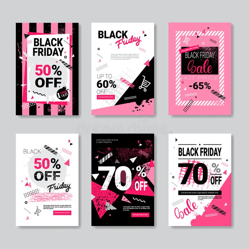 Дизайн Grunge собрания плакатов черного знамени продажи пятницы установленный розовый иллюстрация штока