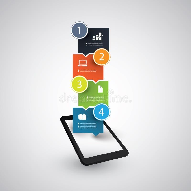 Дизайн Infographic - концепция тенденций таблетки и мобильного телефона иллюстрация вектора