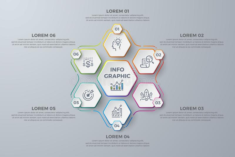 Дизайн Infographic с 6 отростчатыми выборами или шагами Элементы для вашего дела как отчеты, листовки дизайна, брошюры, иллюстрация вектора
