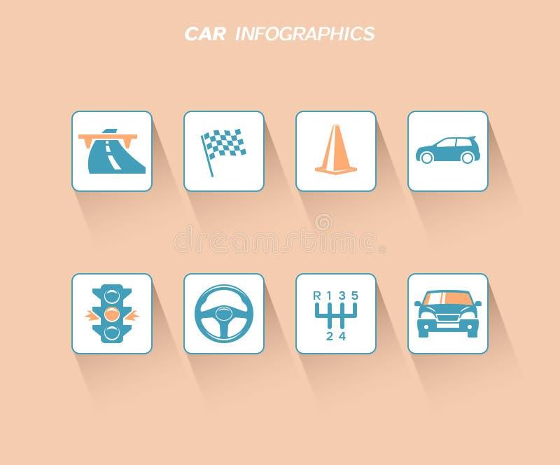 Дизайн infographics автомобиля с плоскими значками иллюстрация вектора