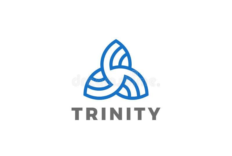 Дизайн Linea логотипа конспекта треугольника троицы иллюстрация штока