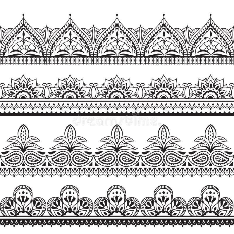 Дизайн Mehndi индийский Границы хны восточные безшовные Индийские рамки вектора флористического орнамента иллюстрация вектора