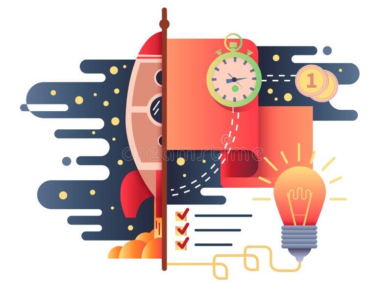 Дизайн Startup дела плоский иллюстрация штока