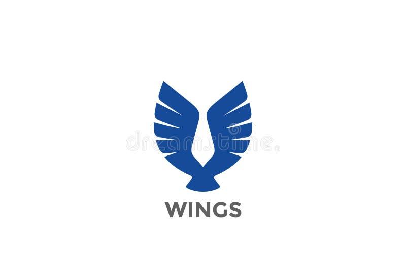 Дизайн v логотипа силуэта крылов птицы орла абстрактный иллюстрация вектора