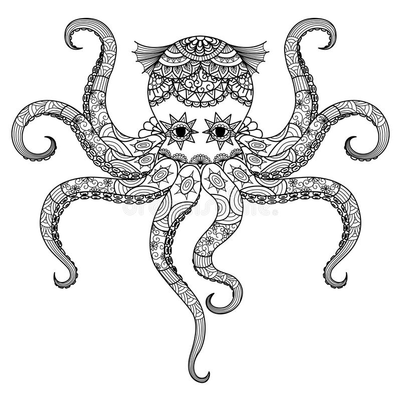 Дизайн zentangle осьминога чертежа для книжка-раскраски для взрослого, татуировки, футболки конструирует и так далее иллюстрация штока