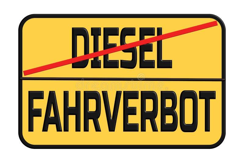 Дизельный управляя запрет в знаке улицы города - в немецком стоковое фото rf