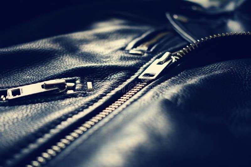 Дизель черноты молнии кожаной куртки стоковое изображение