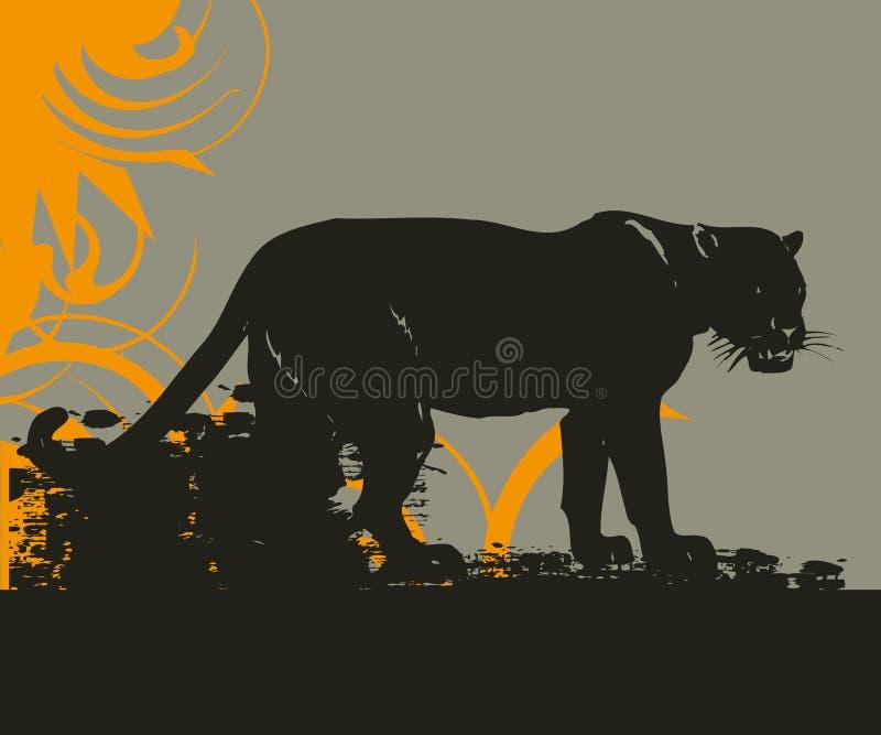 дикая кошка иллюстрации grunge иллюстрация вектора