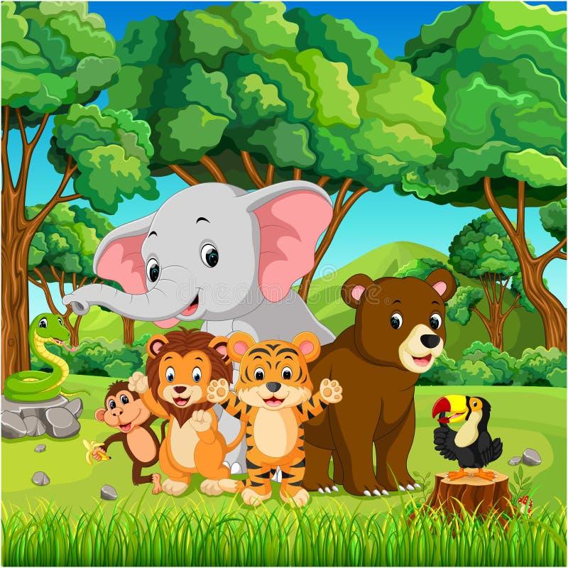 Download Дикие животные в лесе иллюстрация вектора. иллюстрации насчитывающей листья - 104758315