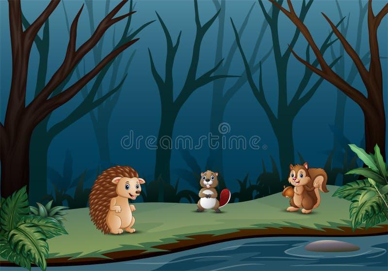Дикие животные живя в сухом лесе иллюстрация штока