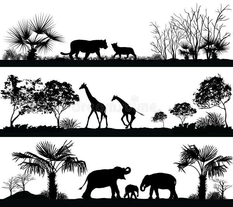 Дикие животные (жираф, слон, лев) бесплатная иллюстрация