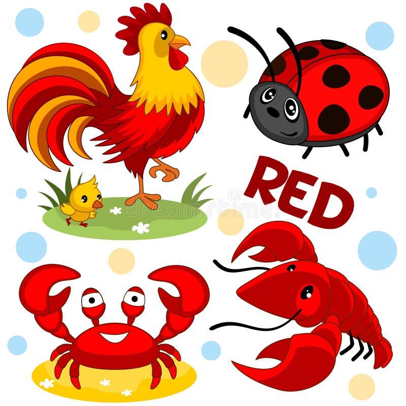 Дикие животные красны иллюстрация вектора