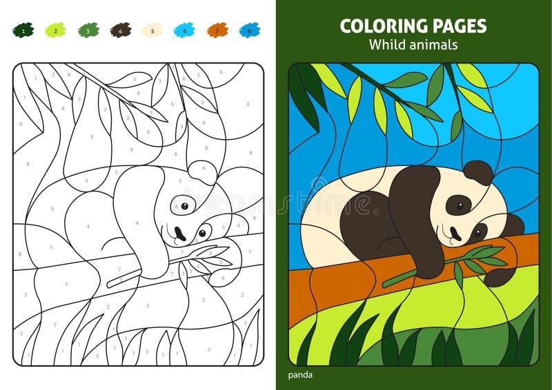 Дикие животные крася страницу для медведя панды детей иллюстрация вектора