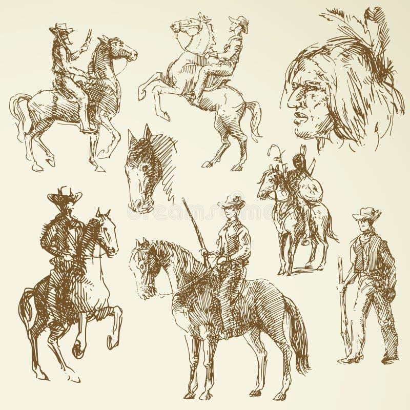 Дикие Запады иллюстрация штока