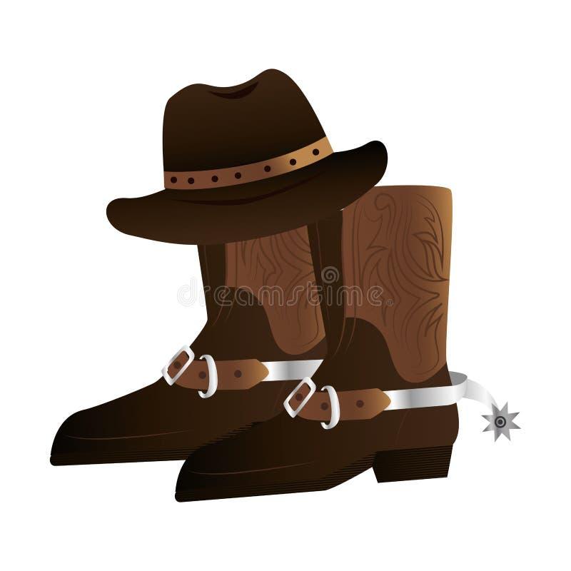 Дикие Запады ботинок ковбоя иллюстрация вектора