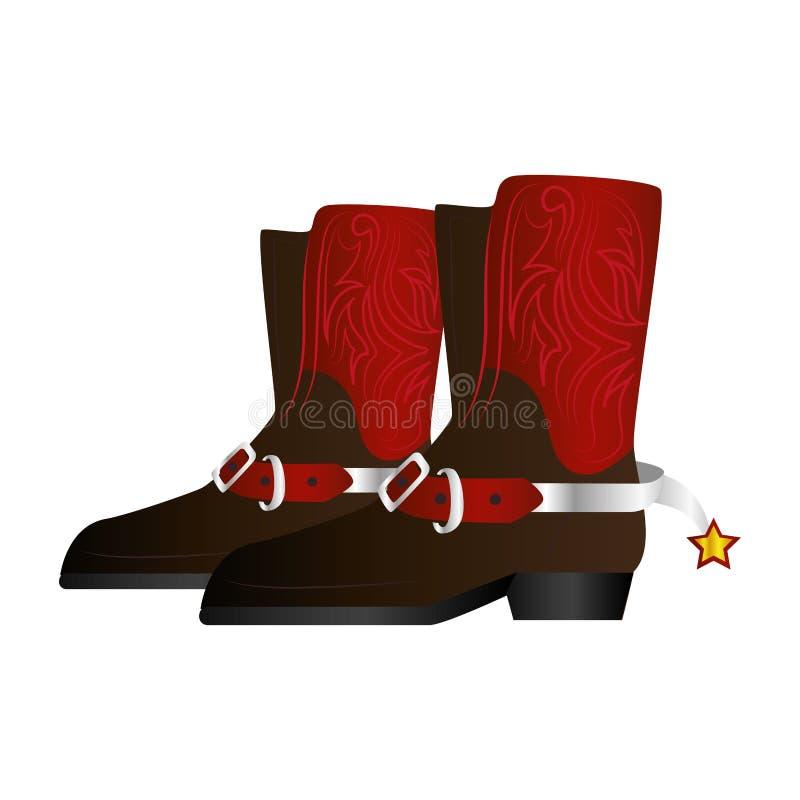 Дикие Запады ботинок ковбоя иллюстрация штока