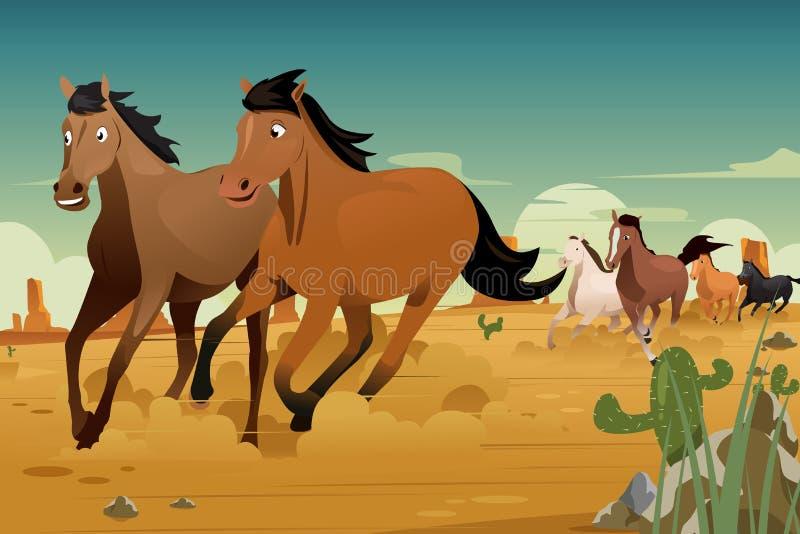 Дикие лошади бежать на пустыне иллюстрация вектора