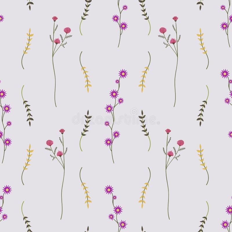 Дикие свежие цветки плоско кладут безшовную картину иллюстрация вектора