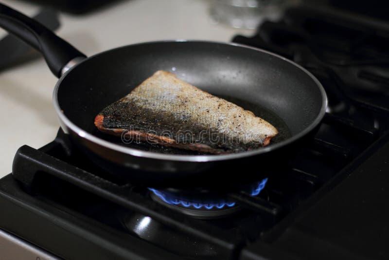 Дикие уловленные семги Coho жаря в лотке стоковое изображение