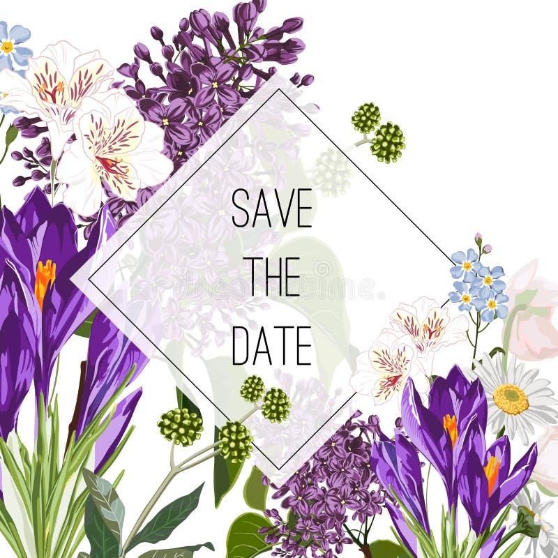 Дикий крокус, цветки сирени и букет трав, элегантный шаблон карты Флористический плакат, приглашает иллюстрация вектора