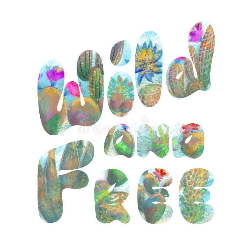 Дикий руки вычерченный и свободный знак, оформление помечая буквами плакат иллюстрация штока