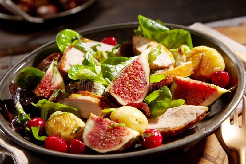 Дикий салат с зажаренным в духовке фазаном и зрелыми смоквами стоковое фото