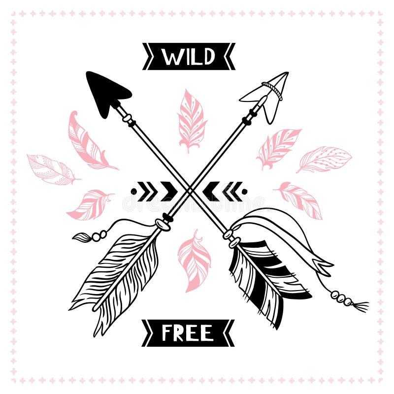Дикий свободный плакат Индийские племенные перекрестные стрелки, иллюстрация вектора стрелки mohawk апаша американца бесплатная иллюстрация