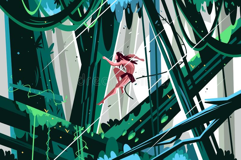 Дикий человек скача в джунгли бесплатная иллюстрация