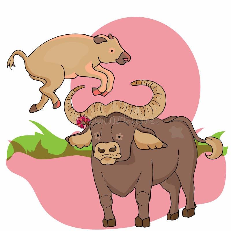 Дикое животное Африканские животные Буйвол с младенцем иллюстрация вектора