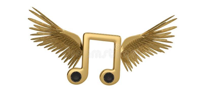 Дикторы в больших символах музыки и крылах золота иллюстрация 3d иллюстрация вектора