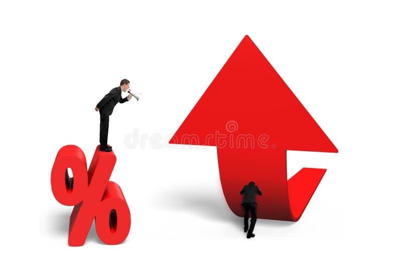 Диктор босса выкрикивая работника нажимая проценты стрелки тенденции верхние иллюстрация штока
