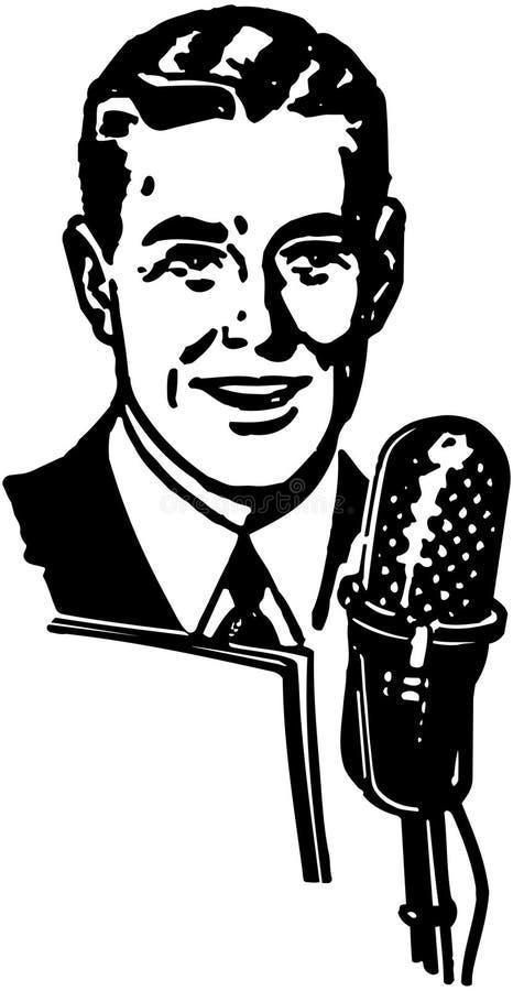 Диктор радио иллюстрация штока