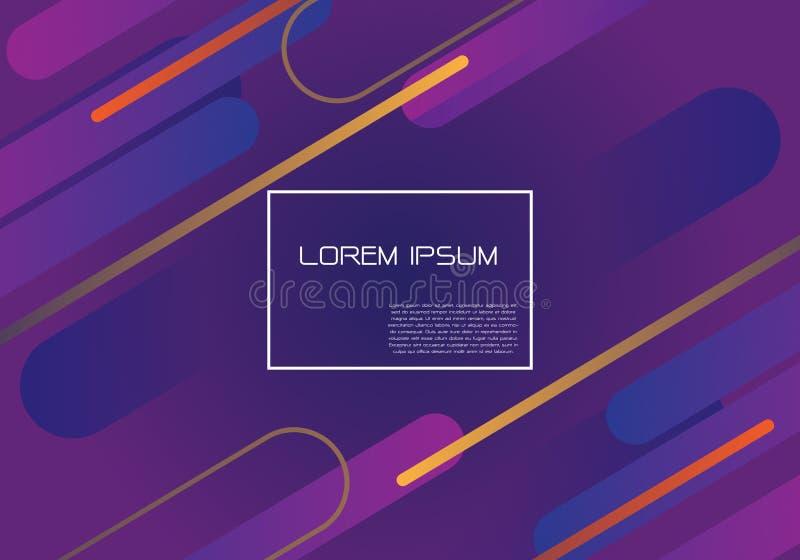 Динамика конспекта пурпурная геометрическая формирует состав с белым вектором предпосылки дизайна рамки и текста современным футу иллюстрация штока