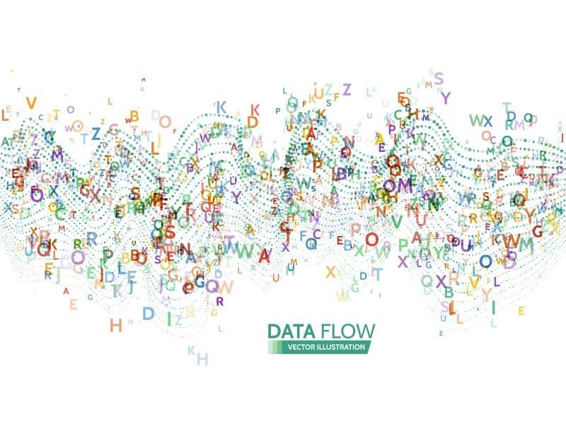 Динамическая концепция технологии волн Абстрактная предпосылка потока информации с кодом писем бесплатная иллюстрация