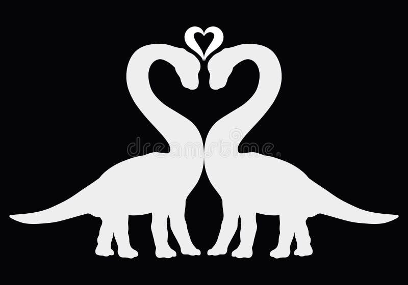 2 динозавра совместно и сердце, силуэты на черном backgro иллюстрация штока